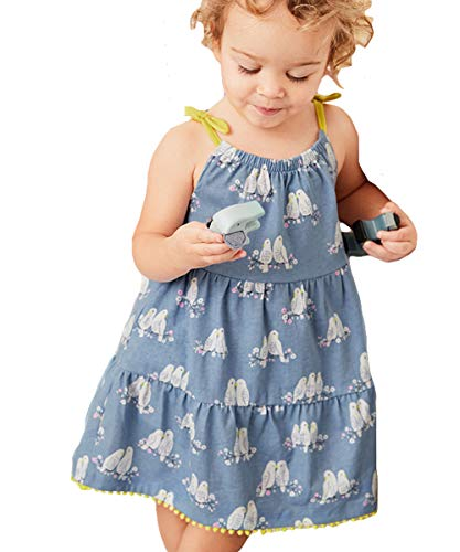 Toddler Girl Summer Dress Cotton Slip Bird Print Sleeveless Halter Beach Tutu SundressParty Dress