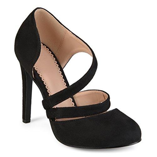 Journee Collection Womens Faux Suede Crossover Strap Round Toe High Heels (Pump Heel Toe Round Medium)