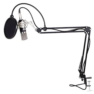 TONOR Professional XRL to 3.5mm Podcasting Studio Recording Condenser Microphone with Adjustable Microphone Suspension Scissor Arm Stand and Microphone Kits Black by TONOR
