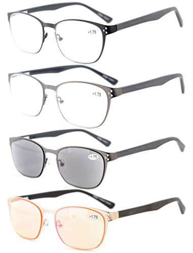 Eyekepper 4-Pack Quality Spring Hings Acetate Temples Eyeglasses Include - Temples Acetate
