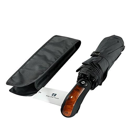 Winddicht Regenschirm,Leebotree Kompakt Reise/Outdoor Regenschirm mit einhändiger Auf-Zu-Automatik, Schirmdurch aus robusten 210T Stoff, transportabel (Grau)
