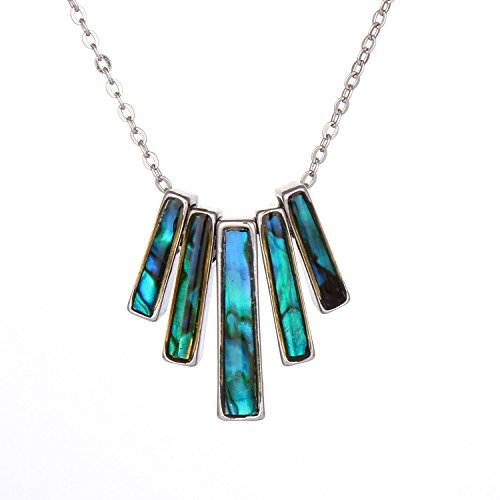 Natural Blue Abalone Joint Geometric Mood Necklace for sale  Delivered anywhere in USA