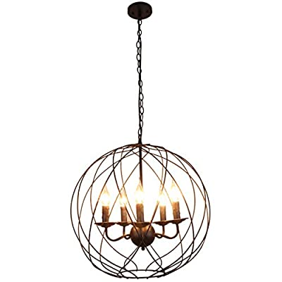 Unitary Brand Vintage Black Metal Globe Shape ORB Dining Room Candle Chandelier with 5 E12 Bulb Sockets 200W Painted Finish - High quality,2 years guarantee. Installation type:Hardwired. Product Dimensions:22x22x59 inches. It's the perfect light fixture to install in kitchen,dining room,living room,foyers and more. Materials:metal. Color:black. Style:antique,vintage, rustic. - kitchen-dining-room-decor, kitchen-dining-room, chandeliers-lighting - 41dDokjuE1L. SS400  -