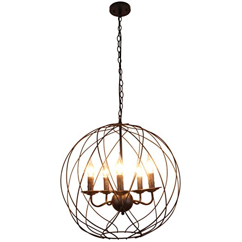 41dDokjuE1L - Unitary Brand Vintage Black Metal Globe Shape ORB Dining Room Candle Chandelier with 5 E12 Bulb Sockets 200W Painted Finish
