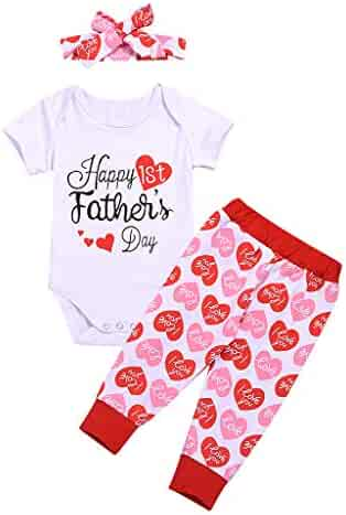 ace4e4c98 Karoleda Baby Toddler Girls Clothing Set Father's Day Letter Printed Romper+ Pants+Headband Outfits