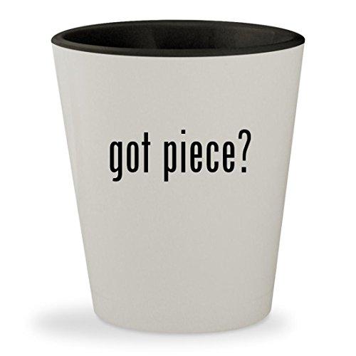 got piece? - White Outer & Black Inner Ceramic 1.5oz Shot Gl