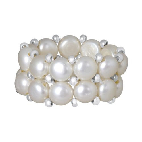 Beautiful Silver Plated Beads White Cultured Freshwater Pearl Stretch Ring
