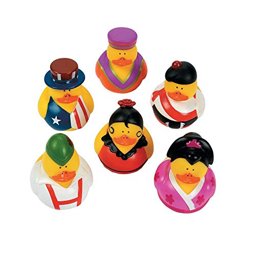 Fun Express One Dozen (12) Around The World Multi-Cultural Theme Rubber Ducks ()