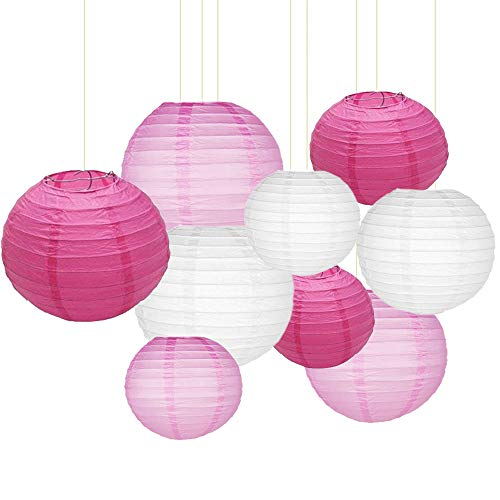 "Sonnis Paper Lanterns 12""10"" 8""Round lanterns Chinese/Japanese Paper Hanging Decorations Ball Lanterns Lamps for Birthday Wedding Baby Showers Party Decorations (9pack,Rose Red, Pink, White)"