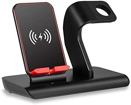 すべての種類の携帯電話のための1つの携帯電話の腕時計の無線充満デスクトップの電話ホールダーに付き2つ (色 : ブラック)