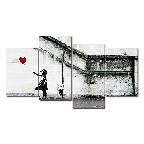 Wieco Art Famous Canvas Paintings Wall Art Banksy Grafitti Girl with Red Balloon Modern Large 4 Piece Inspirational Grey Love Giclee Pictures Print Artwork for Dining Room Kitchen Home Office Decor