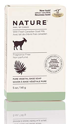 Nature by Canus Pure Vegetal Base Soap with Fresh Canadian Goat Milk, Fragrance-Free, 5 Ounce Bar