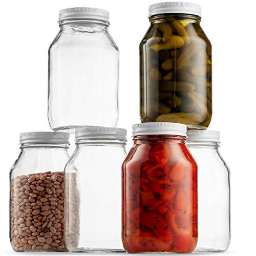 Glass Mason Jars 32 Ounce (1 Quart) 6 Pack Regular Mouth, Metal Airtight Lid, USDA Approved Dishwasher Safe USA Made Pickling, Preserving, Canning Jar, Dry Food Storage, Craft Storage, Decorating - 1 Quart Jars