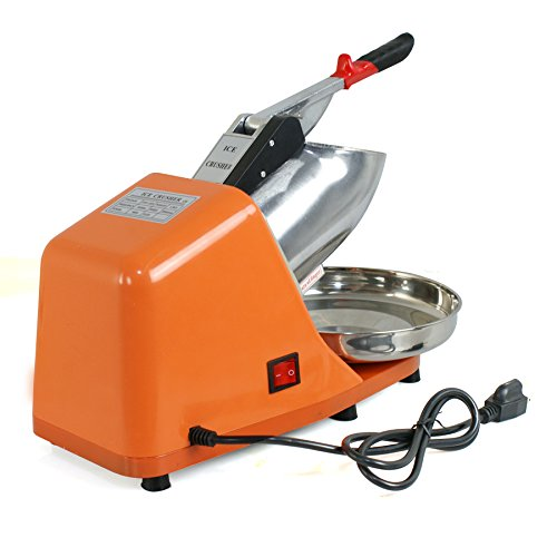 ZENY Ice Shaver Machine Electric Snow Cone Maker Stainless Steel Shaved Ice Machine 145lbs Per Hour (Orange) by ZENY (Image #4)