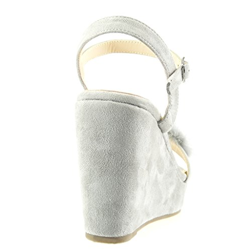 Angkorly - Scarpe da Moda sandali zeppe donna pelliccia fiori gioielli Tacco zeppa piattaforma 11 CM - Grigio