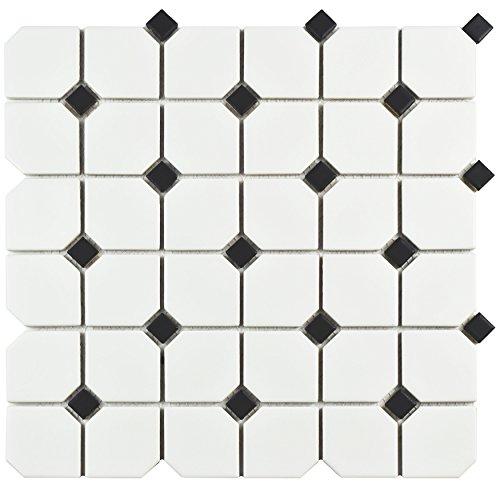 "SomerTile FMTBMBD Retro Broadway Porcelain Mosaic Floor and Wall Tile, 11.75"" x 11.75"", Matte White with Black Dot"