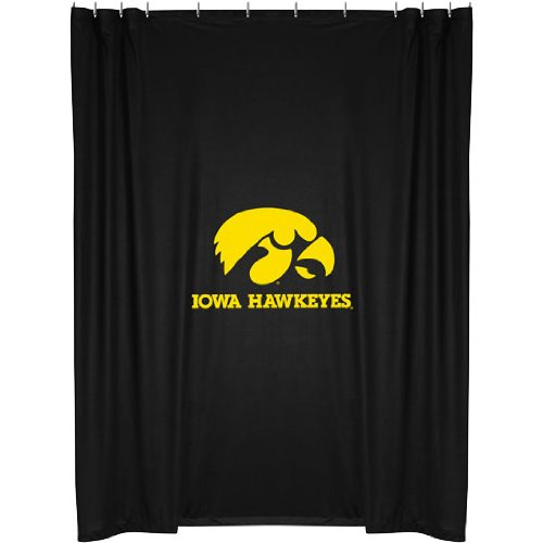 Iowa Hawkeyes COMBO Shower Curtain, 2 Pc Towel Set & 1 Window Valance/Drape Set (63 inch Drape Length) - Decorate your Bathroom & SAVE ON BUNDLING! by Sports Coverage