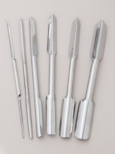 6 piece Stainless Steel U & V Garnishing Carving Set M.V.Trading MTHSLCN001V