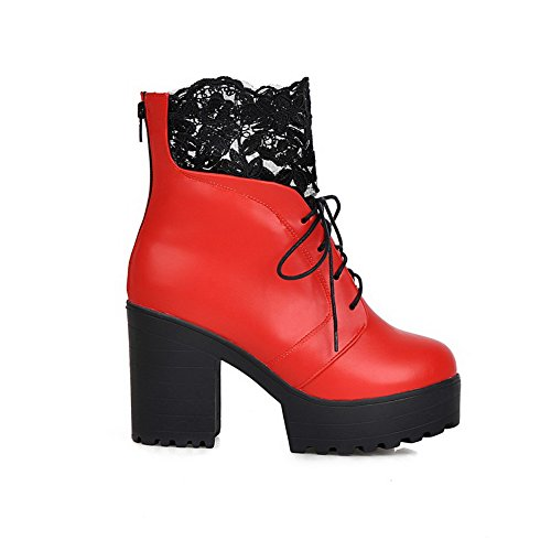 Boots Chunky Lace Leather Red Imitated Ladies Heels amp;N A Bandage 8wOBRx7q