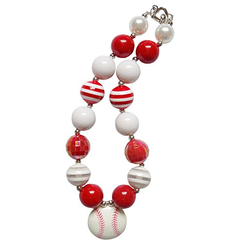 [So Sydney Baby Toddler Girls Princess Chunky Bubblegum Beads Beaded Necklace (Red & White Baseball)] (Baseball Girl Costume)