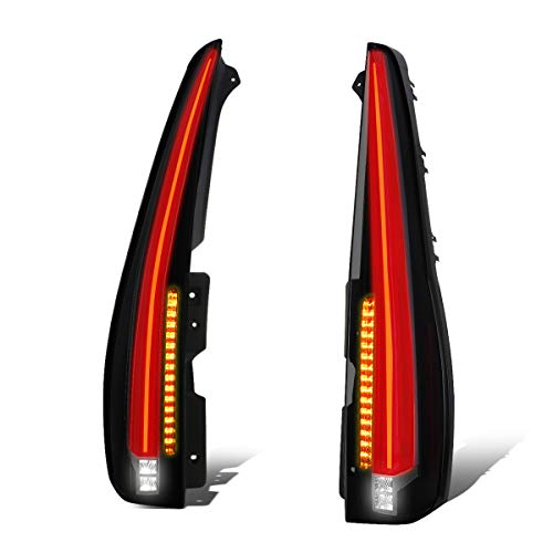 For 07-14 Chevy Tahoe/GMC Yukon Pair Smoked Housing 3D LED Tube Bar Cadillac Style Tail Light Lamps