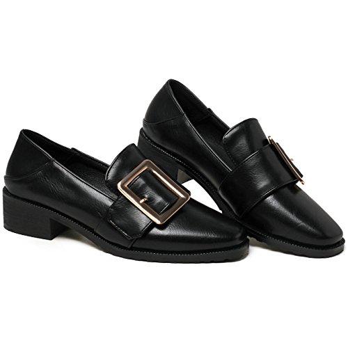 Platform Ladies on AIWEIYi Heel Shoes Black Dress Casual Med Slip Shoes Square F0qxw7UO