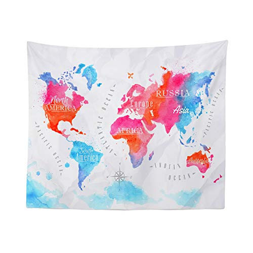 World Map Watercolor Tapestry Wall Hanging Maps Global Pink Blue Tapestries Dorm Room Bedroom Decor Art – Printed in the USA – Small to Giant Sizes