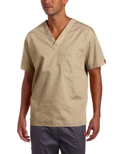 Dickies Big Everyday Scrubs Unisex V-Neck Solid Scrub Top,Khaki,XX-Large
