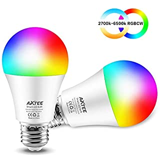AXTEE Smart Light Alexa Bulb 2.4G(Not 5G), WiFi LED RGBCW Color Changing Bulbs 2700K-6500K with White Lights Work with Alexa, Echo, Google Home and IFTTT(No Hub Required), A19 E26 60W Equ-2 Pack