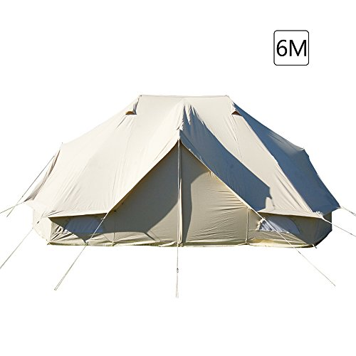 PlayDo 6M/19.6FT Extra Large Waterproof Cotton Canvas Camping Bell Tent with 3 Doors and 6 windows for 8-12 Persons