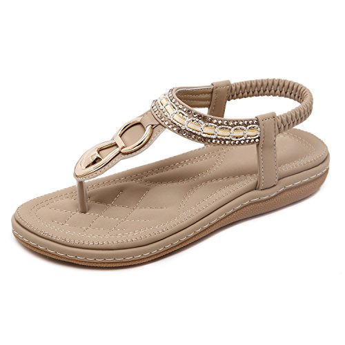 Flammi Women's Bohemian Rhinestone Summer Flat Sandals Soft Sole Beach Flip Flops T-Strap Sandals Slingback Thong Sandals (5 B(M) US, Apricot)