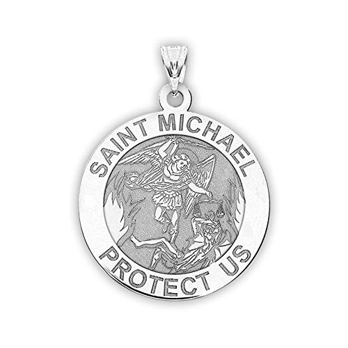 PicturesOnGold.com St Michael Pendant - Saint Michael Pendant Religious Medal Necklace - 1 Inch - Size of a Quarter in Sterling Silver - Includes 18 inch Cable Chain. (Necklace + Engraving)