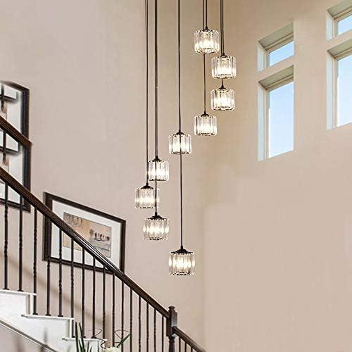 MXLTiandao LED de Luces de la Escalera Luces largas Colgante de Cristal de la Sala de iluminación Villa Luz cristalina lámpara Colgante Ligero: Amazon.es: Hogar