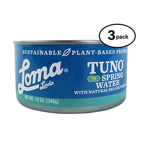Loma Linda Tuno - Plant-Based - Spring Water (12oz.) (Pack of 3) - Non-GMO, Omega 3, Seafood Alternative