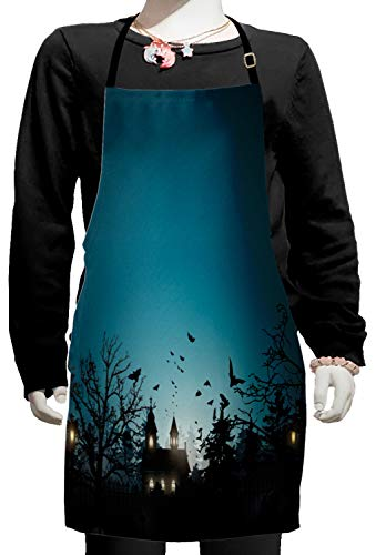Lunarable Halloween Kids Apron, Gothic City and Graveyard at Halloween Night Dark Horror Bats, Boys Girls Apron Bib with Adjustable Ties for Cooking Baking and Painting, Petrol Blue Charcoal -