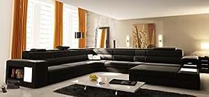 Polaris Black Leather Sectional Sofa