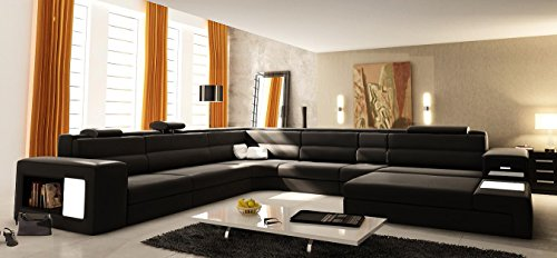 VIG Furniture VGEV5022-GR-BL Divani Casa Polaris - Contemporary Bonded Leather Sectional Sofa with Lights Color: (Case Bonded Leather)