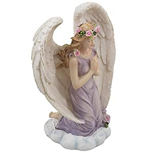 Kneeling-Angel-in-Prayer-Figurine-on-a-Heavenly-Cloud-with-Accents-of-Roses-for-Spiritual-Religious-and-Christian-Home-Decor-Sculptures-or-Statues-As-Artistic-Inspirational-Gifts