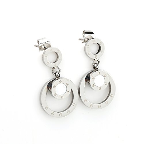 Mother Of Pearl Circular Earring (Stylish Silver (White Gold) Tone Circular Post Earrings with Contemporary Screw Design and Faux Mother-Of-Pearl Inlay (160019))