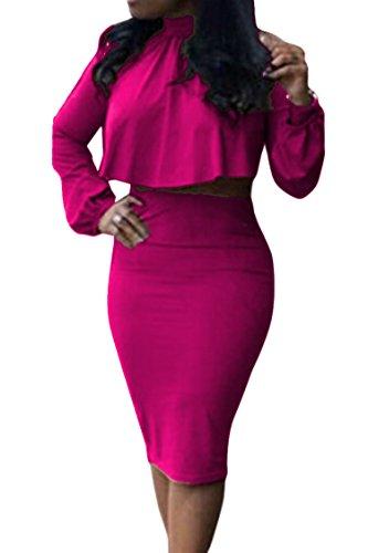 VOGRACE Women's High Neck Cloak Cape Top Bodycon Skirt 2 Pieces Dress L Rose ()