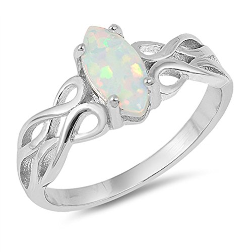 - Marquise White Simulated Opal Filigree Ring Sterling Silver Infinity Band Size 6