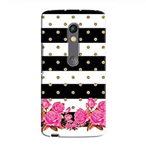 Cover It Up Spotted Flower Stipes Hard Case For Moto X Play - Multi Color
