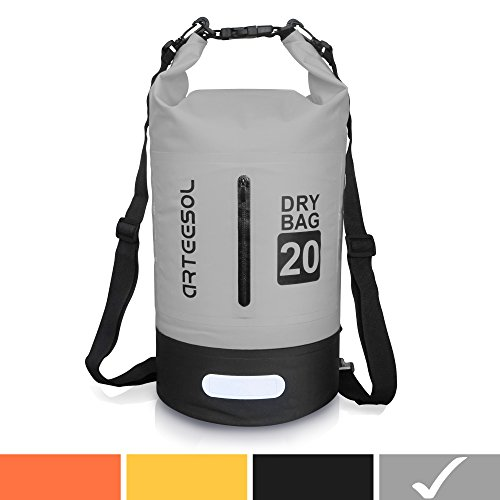 Arteesol Waterproof Bag 5L/10L/20L/30L Dry Bag Rucksack with Double Shoulder Strap Backpack for Swimming Kayaking Boating Fishing Traveling Cycling Beach [4 Colors] (Gray, 20L) by Arteesol