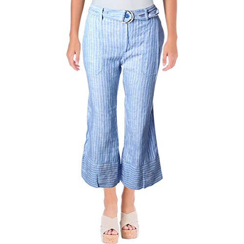 (Lauren Ralph Lauren Womens Linen Weekend Wide Leg Pants Blue 8)