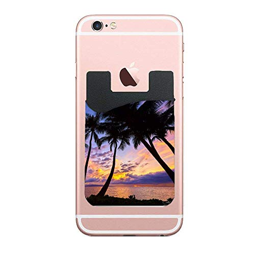 FEDDIY Cell Phone Stick On Slim Wallet Card Holder Phone Pocket Case - Palm Trees