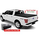 Tonneau Cover for Ford F150 Truck, Standard Short Bed 6.5' Box, 2015-2019, Tri-Fold with Free Storage Pocket