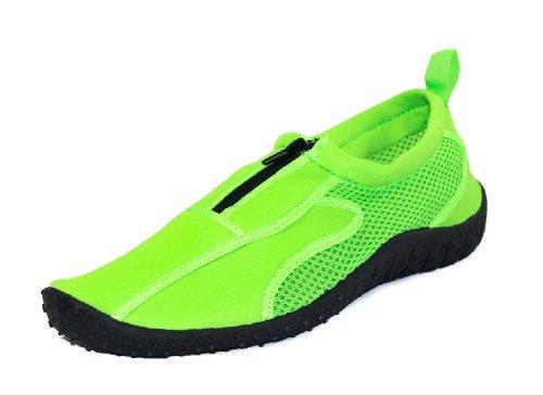 Rockin Footwear Kids Aqua Neon Zippers Green Rubber Water Shoe Size - Footwear Neon Green