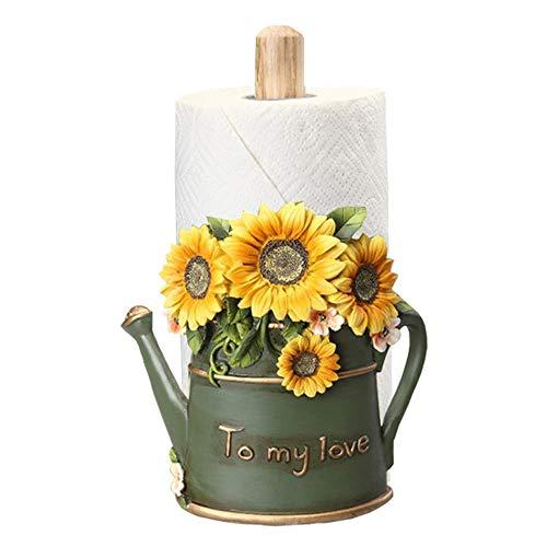 Euro Style Free-standing Sunflower Paper Towel Holder- Vintage Rustic Rural Vertical Paper Towel Holder - For Kitchen Dinning Room Hotel Bar Tissue Holder Countertop (Color : A)