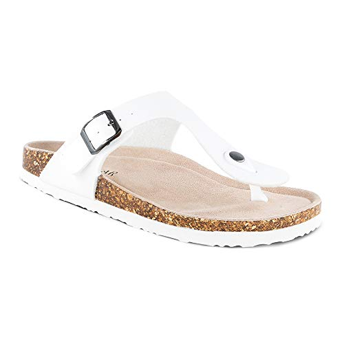 TF STAR Women's Thong Flip Flop Flat Casual Cork Sandals with Buckle Strap,Leather Cork Gizeh Sandals for Women/Girls/Ladies White
