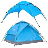 Wantdo 2-3 Person Aotomatic Instant Tent Pop Up Family Camping Tent Double Layer Shelter UV Protected Waterproof for Outdoor Fishing Picnic Beach 3-4 Seasons